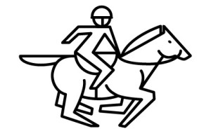 03 running horse with saddle strap and jockey outline